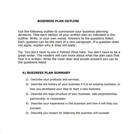 business plan structure template business plan outline template 10 free