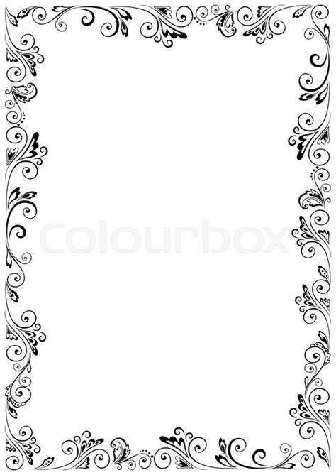 Black And White Home Design Inspiration by Floral Vector Frame Format A4 Stock Vector Colourbox