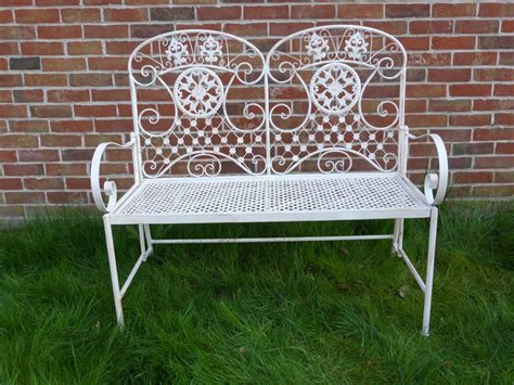 metal garden benches uk gardens ornate cream 2 seater metal garden bench with
