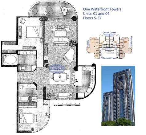 tower floor plans one waterfront towers honolulu hawaii condo by hicondos com
