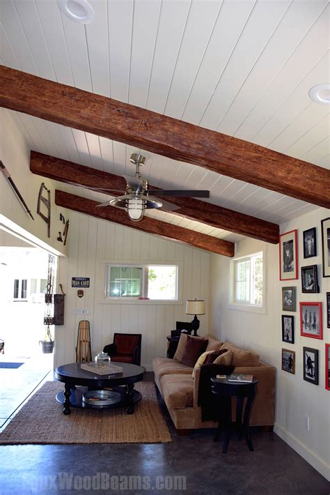vaulted ceiling with exposed beams vaulted ceilings with exposed beams faux wood workshop