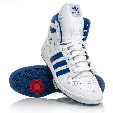 adidas originals decade hi mens basketball shoes white blue sportitude