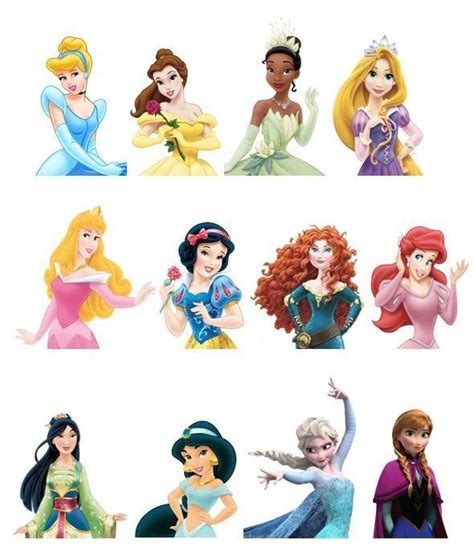 printable 12 mixed disney princess party cup cake toppers 12 different top half disney princess edible wafer paper