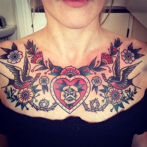 chest tattoo girl small center chest tattoos for www imgkid