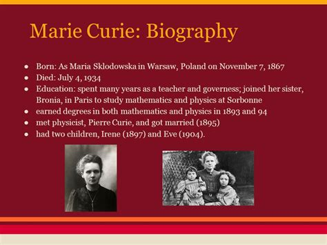 marie curie biography for students the discovery by kaitlin shorr and tara monaghan ppt