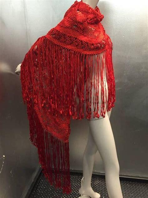 Macrame Shawl - 1970s cherry rayon macram 233 fringed shawl at 1stdibs