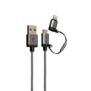 Verbatim 120cm 2 In 1 Cable cable verbatim 2 in 1 metallic micro usb cable verbatim