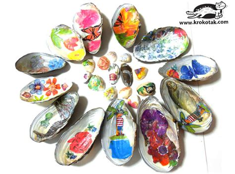 Decoupage With Pva - krokotak decoupage on sea shells