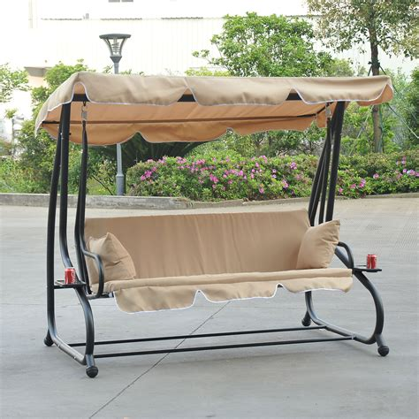 3 person porch swing outdoor 3 person patio porch swing hammock bench canopy