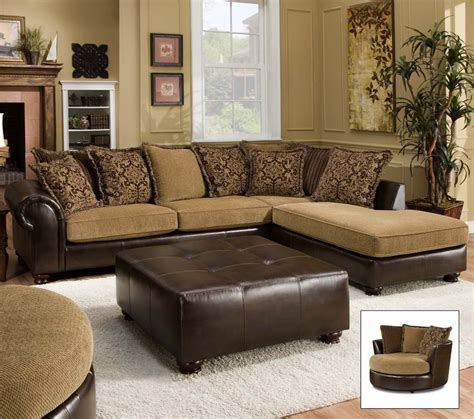 leather fabric combo sectional decor ideas