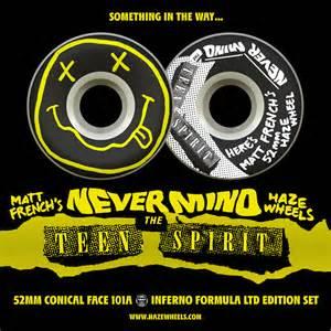 nirvana skateboard deck hazewheels s nevermind the spirit wheel set