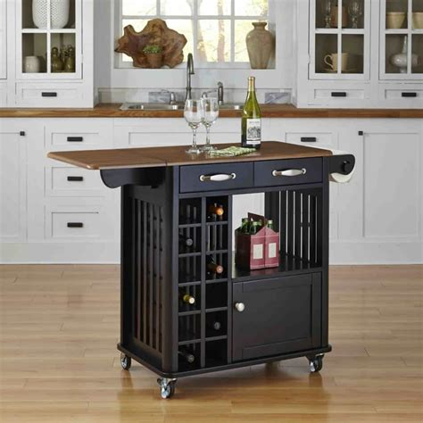 Black Small Kitchen Island Cart With Wine Storage And