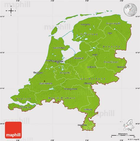 physical map of netherlands physical map of netherlands cropped outside