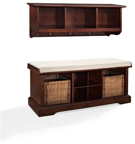 accent storage bench crosley brennan 2 piece entryway bench and shelf set