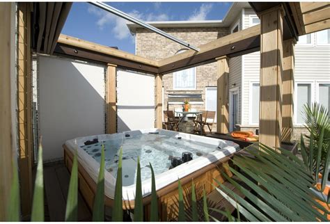 hot tub retractable awning hot tub with privacy screens photos hgtv canada