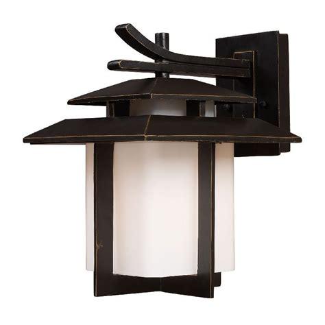 Asian Lighting Fixtures New 1 Light Lg Asian Outdoor Wall L Lighting Fixture Bronze White Glass Elk Ebay