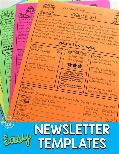 third grade newsletter template homework folder and newsletter template editable