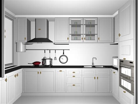 Kitchen Sink Window Ideas Small White Kitchen Design 3d Model 3dsmax Files Free