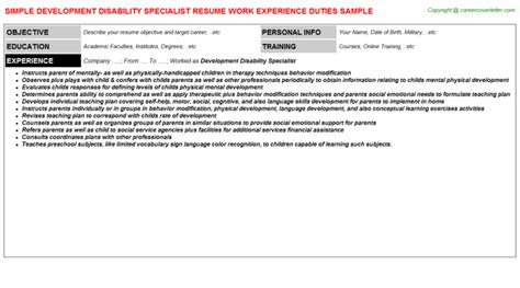 Disability Specialist Cover Letter by Wax Specialist Resumes