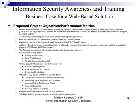 Information Security Awareness And Training Business Case For Web Bas Security Business Template