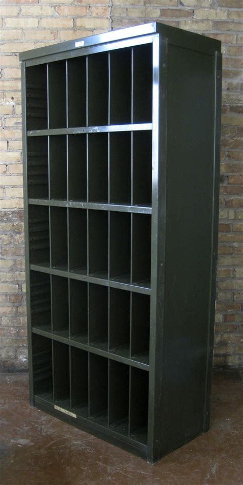 vintage gf metal steel industrial lp record bookcase