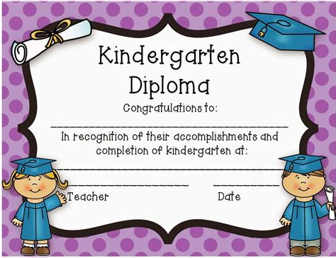Kindergarten Diploma Template by Kindergarten Graduation Certificate Template