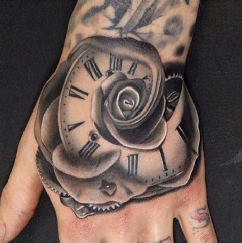 clock tattoo with roses clock flower tattoos piercings clock