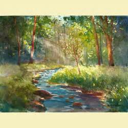 Landscape Artists Watercolor Watercolor Landscape Painting Print Creek And Tree By