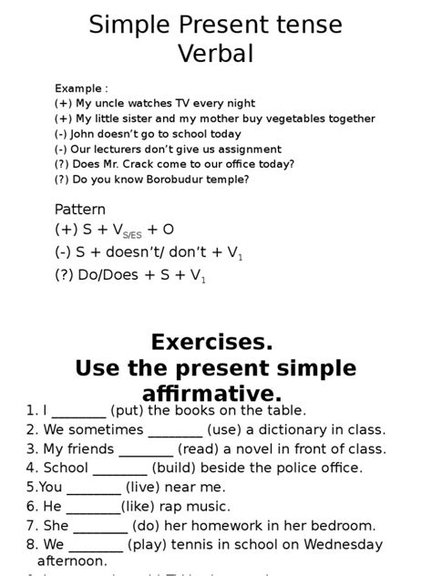 pattern present simple tense simple present tense pptx