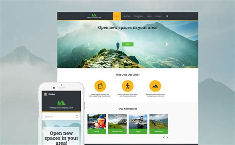 new themes in hike hiking responsive website template 58226