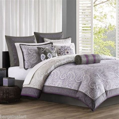 purple and grey bedding echo design marrakesh purple gray paisley 7 pc full queen