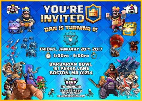 clash of clans printable birthday banner 8 best clash royale convite images on pinterest 7th