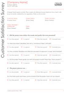 Customer Service Survey Questions Template by Customer Survey Template 5 Sles For Microsoft 174 Word