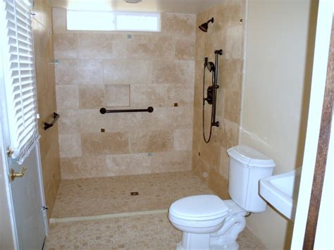 Wheelchair Accessible Kitchen Design Barrier Free Roll In Accessible Shower Traditional Bathroom San Diego By Aging In