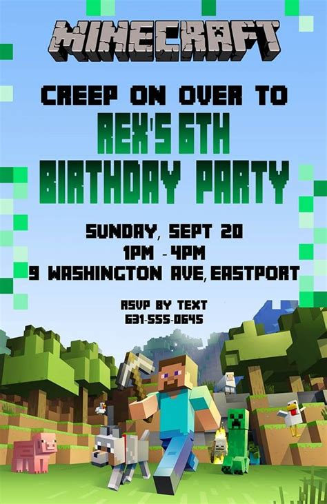 minecraft birthday invitation card template birthday invitation minecraft theme