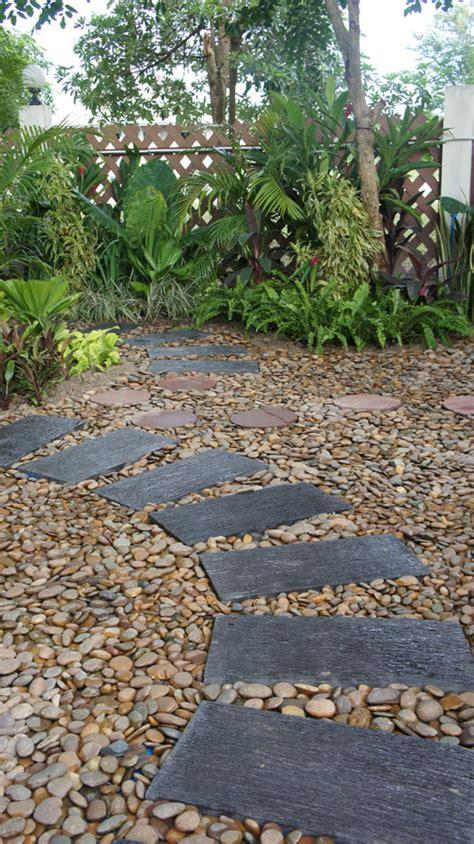 pebble paver garden in hua hin thai garden design