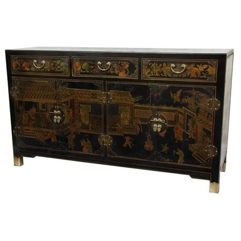 Black Lacquer Dining Room Table by Oriental Furniture Large Buffet Table In Black Lq