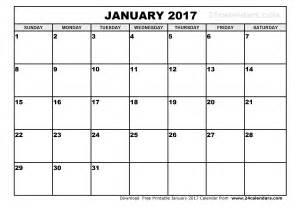 Monthly calendar january 2017 monthly calendar printable