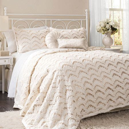 sparkly comforters highlighted by dramatic chevron inspired design and