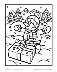 Snowman to color worksheet education com