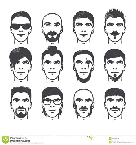 Man faces set stock vector. Image of facial, modern