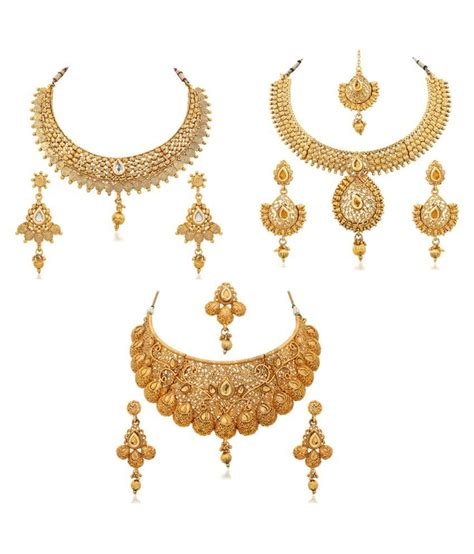 Golden Set rg fashions jewellery golden necklace set set of 3 buy