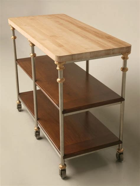 stainless steel top kitchen island server with shelf shallow stainless steel kitchen island with oak shelves