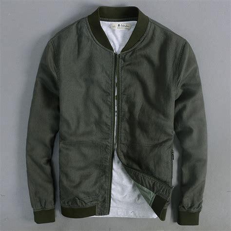 Jaket Bomber Pilot Canvas Marsmello aliexpress buy fashion linen jacket army green
