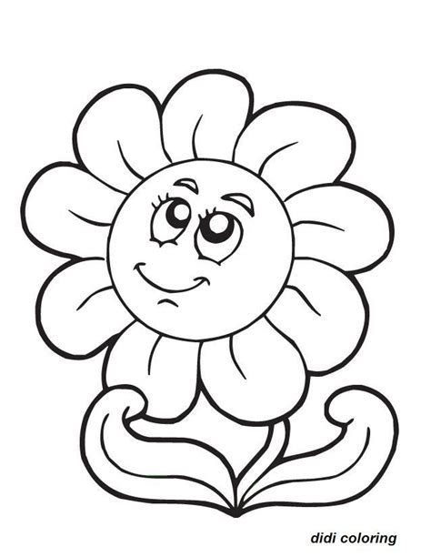 printable smiling flower coloring page for kids didi