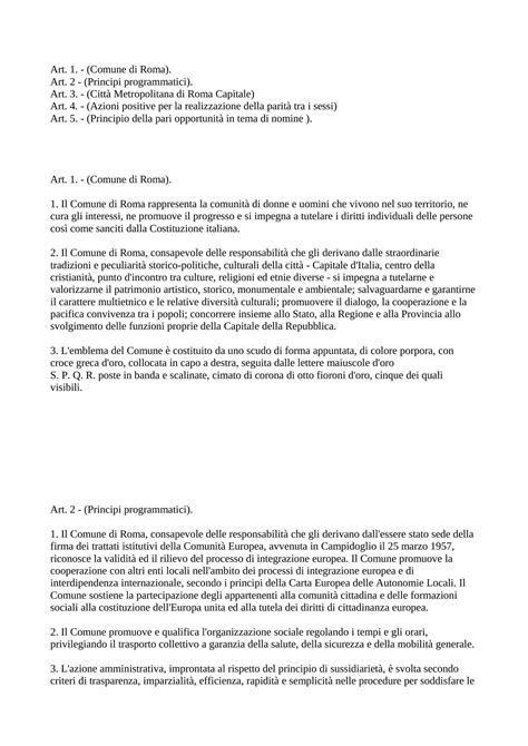 diritto degli enti locali dispense statuto comune di roma principi dispense