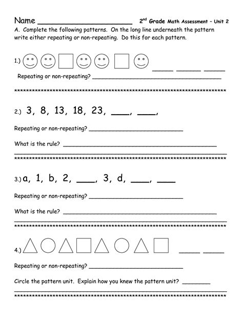 Pattern Definition For 2nd Grade | repeating patterns worksheets for second grade pattern