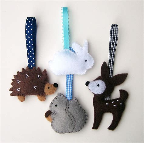 Handmade Animals - handmade felt ornaments woodland animals
