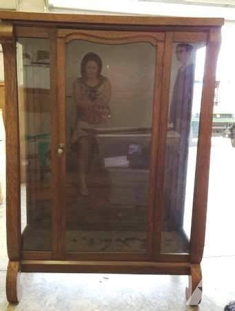Glass Curio Cabinets For Sale by 1910 Empire Style Oak Curio Display Cabinet Needs Glass