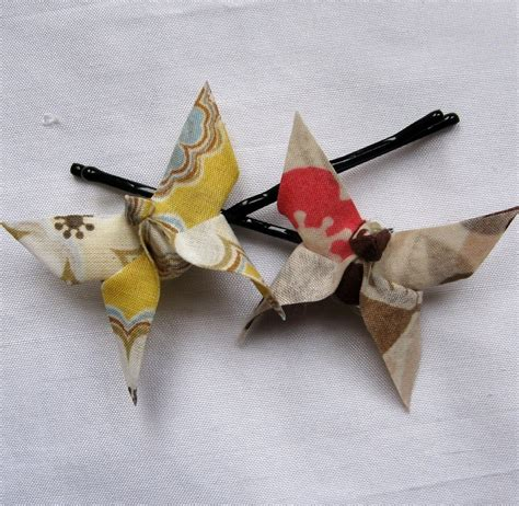 Fabric Origami - pair of fabric origami butterfly hair grips pink and by bymi